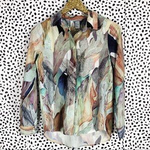 H&M Watercolor Floral Button Down Hi-Low Blouse